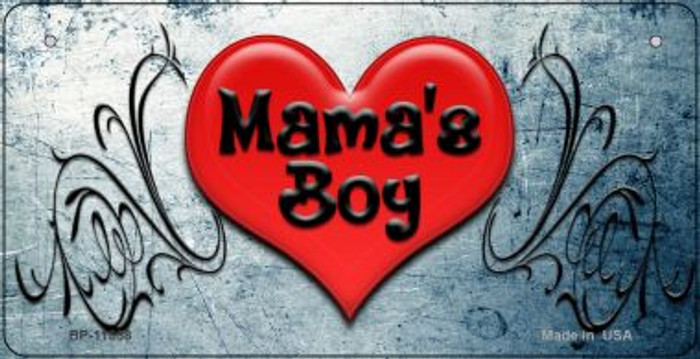 Mamas Boy Novelty Metal Bicycle License Plate