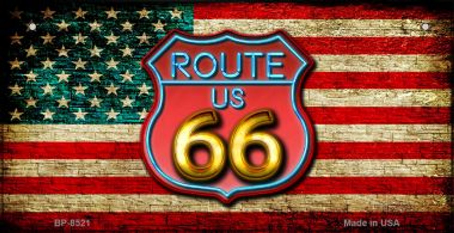 ROUTE 66 RED ARIZONA STATE BACKGROUND METAL NOVELTY LICENSE PLATE TAG