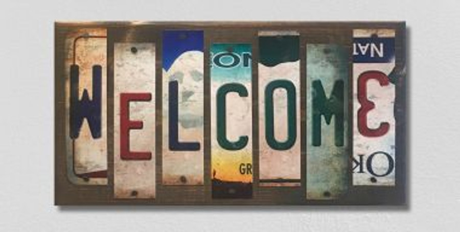 Welcome License Plate Strip Novelty Wood Sign WS-084