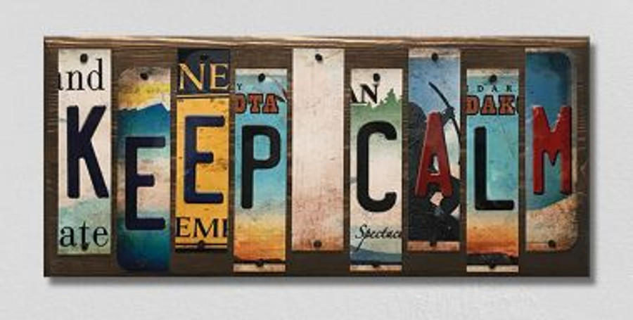Keep Calm License Plate Strips Novelty Wood Sign WS-119