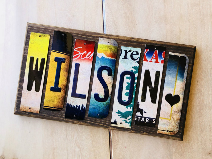 Personalized Custom Name Cut License Plate Strip Wood Sign