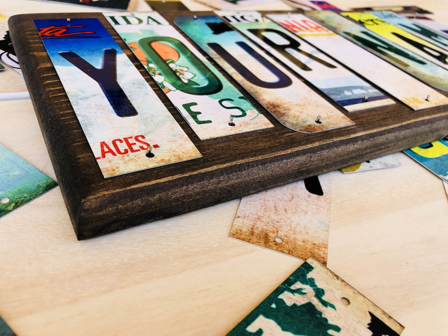 Personalized Custom Name Cut License Plate Tag Strip Wood Sign