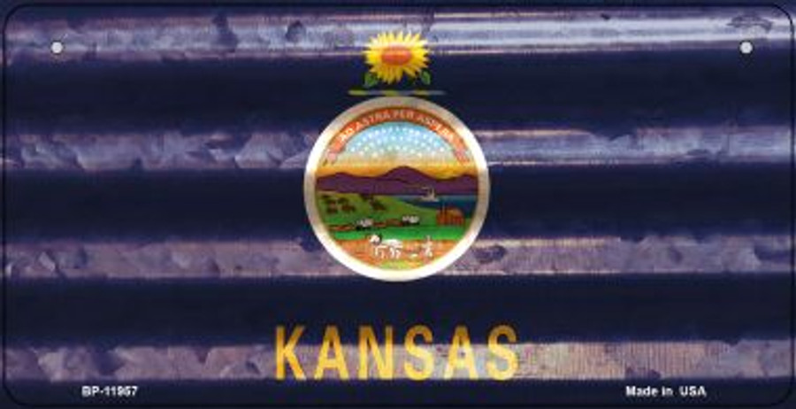 Kansas Corrugated Flag Novelty Bicycle Plate BP-11957