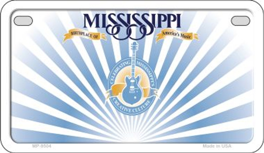 Mississippi State Background Blank Novelty Metal Motorcycle Plate MP-9504