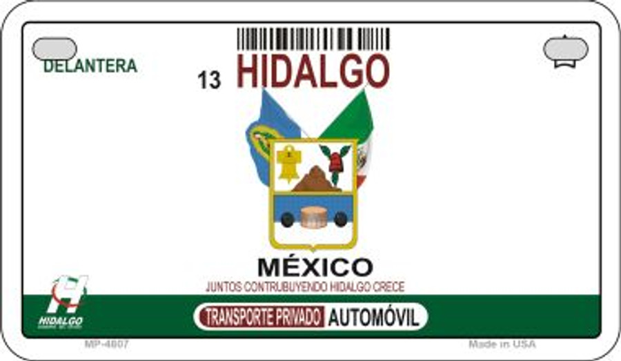 Hidalgo Mexico Blank Background Novelty Metal Motorcycle Plate MP-4807