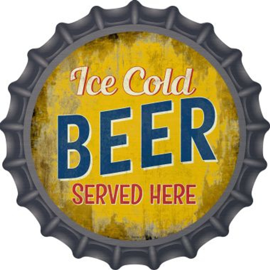 Ice Cold Beer Served Here Novelty Metal Bottle Cap BC-848