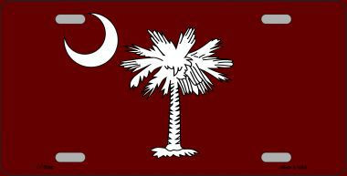 South Carolina Flag Burgundy Novelty Metal License Plate