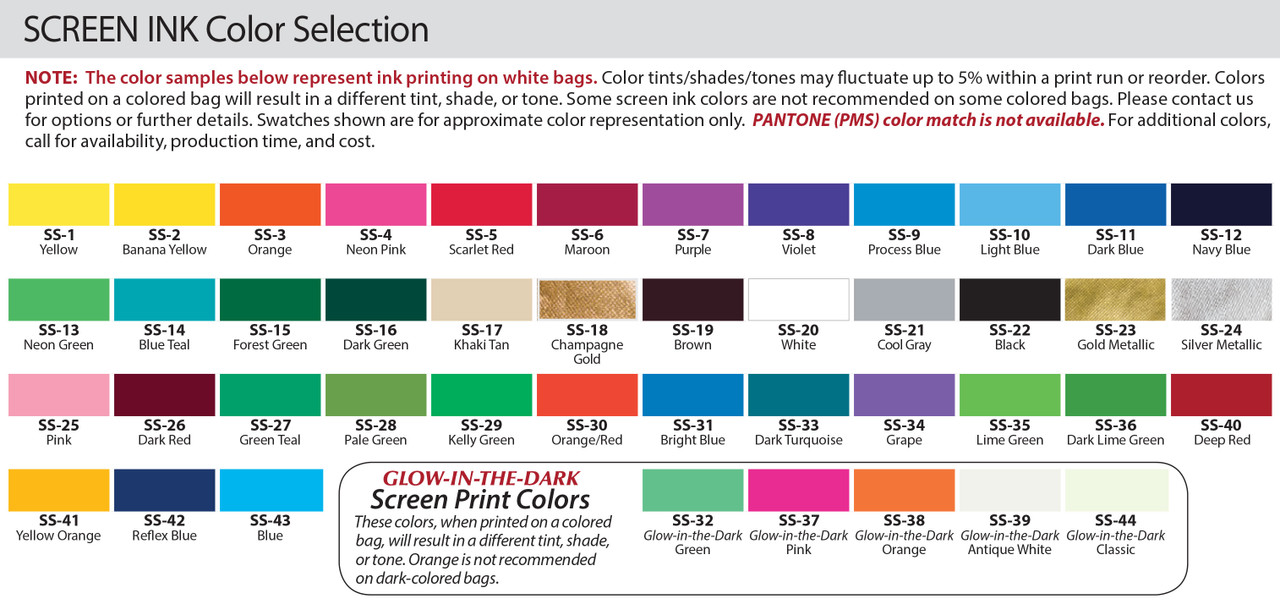 Imprint Color Options