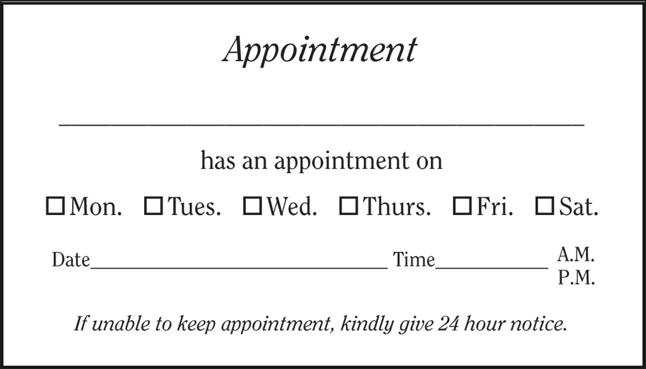 Optional Imprinted Generic Appointment Back, additional charge will be applied