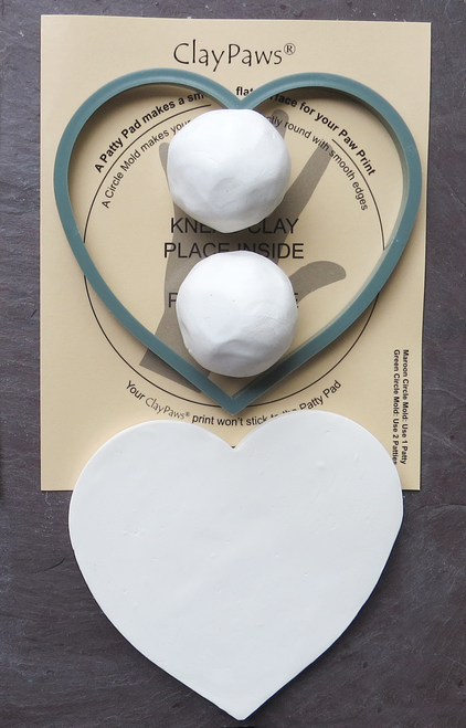 GHP - Green Heart Mold & Patty Pad for use with 2 ClayPaws® Prints