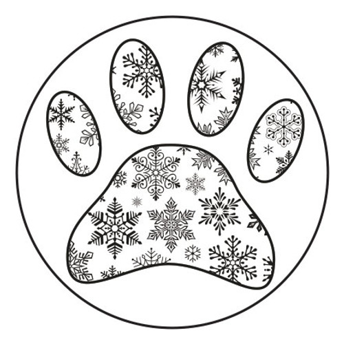 """LRPAW2 - 1"""" Clear Sticker with Black Pawprint"""