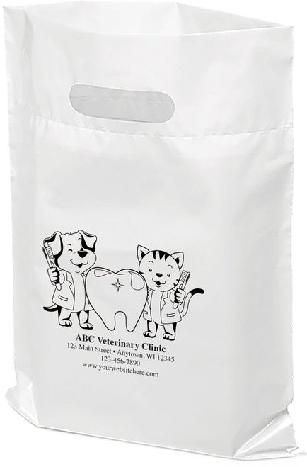 """PTS43 - Personalized Plastic Tote Bag - 9 1/2"""" x 12"""" (Multiple Bag & Imprint Colors Available)"""