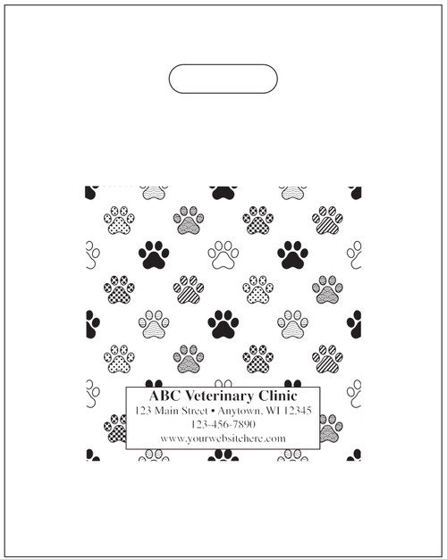 """PTS46 - Personalized Plastic Tote Bag - 9 1/2"""" x 12"""" (Multiple Bag & Imprint Colors Available)"""