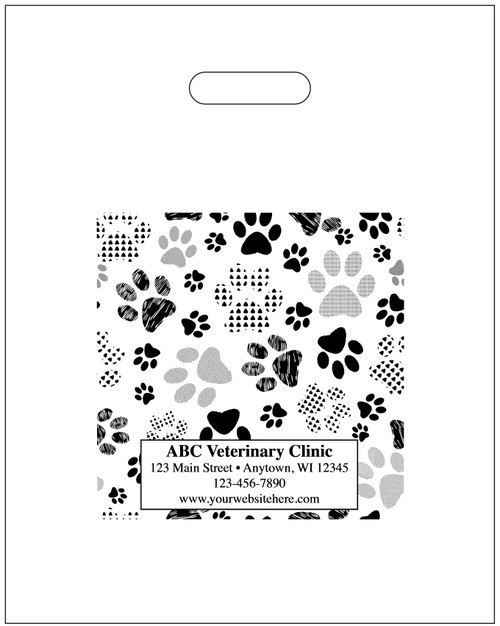 """PTS48 - Personalized Plastic Tote Bag - 9 1/2"""" x 12"""" (Multiple Bag & Imprint Colors Available)"""