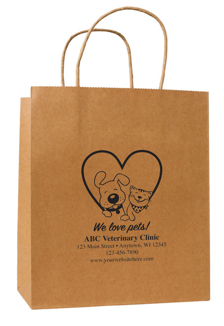 HSD44 - Personalized Handled Paper Bag (Multiple Imprint Colors Available)