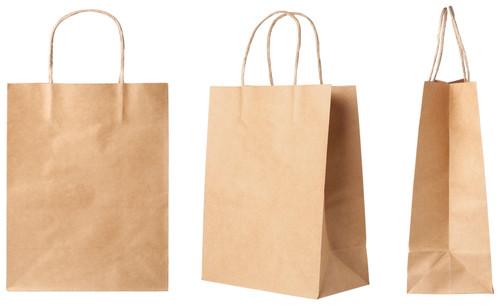 "KPPS- Small Plain Kraft Paper Bag with Handles - 8""x4.5""x10.25"" (KPPS) Multi View"
