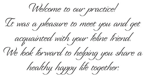 WELCOMECAT2 - Standard Message