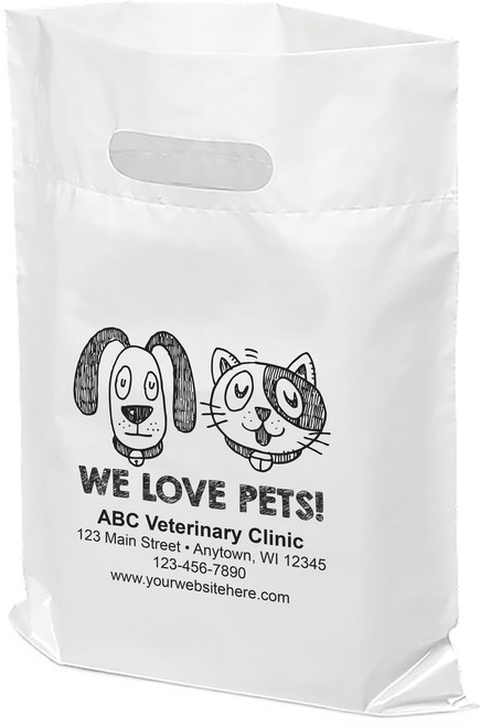 """PTS6 - Personalized Plastic Tote Bag - 9"""" x 12"""""""
