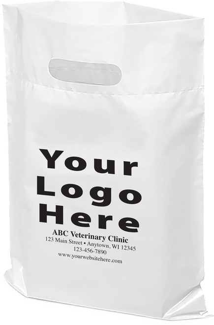"""PTSP - Personalized Plastic Tote Bag - 9"""" x 12"""" (Multiple Bag & Imprint Colors Available) Call 1-877-761-5933 for more information!"""