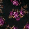 Pink Roses on Black Stretch Velvet