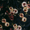 Cream Floral on Navy Stretch Velvet