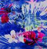 Hawaiian Floral Blue Nylon Spandex Swim Knit