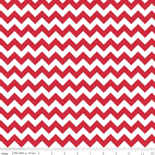 Knit Small Chevron Red and White by Riley Blake