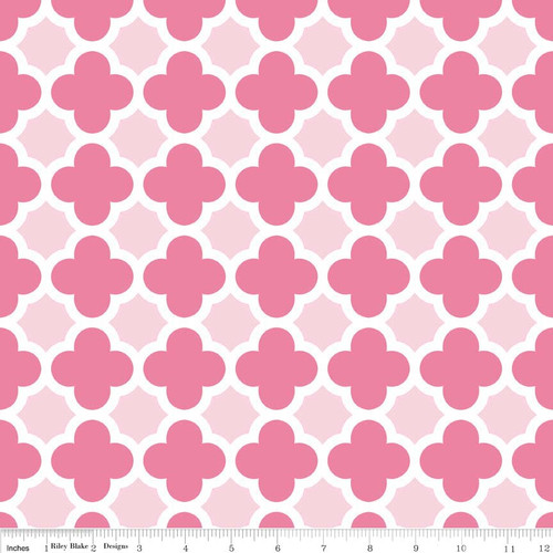 Last 1.5 Yards Knit Quatrefoil Hot Pink/Baby Pink by Riley Blake