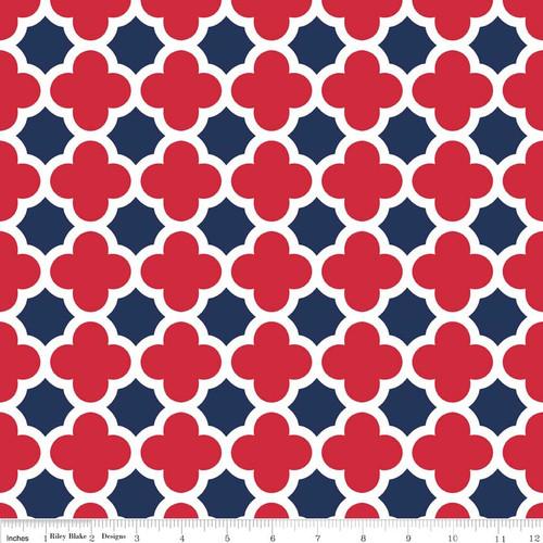 Knit Quatrefoil Red/Navy by Riley Blake