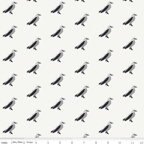 Idle Wild Birds Gray Knit by Riley Blake