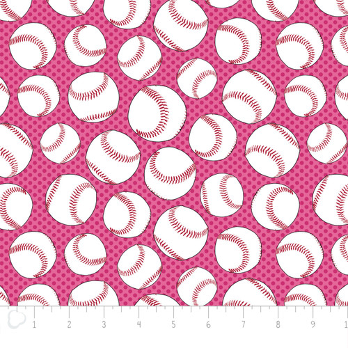Baseballs Pink Flannel by Camelot