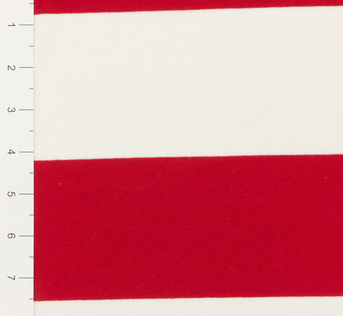 FLAWED Last Yard Red and White Yarn Dyed Striped Knit Fabric