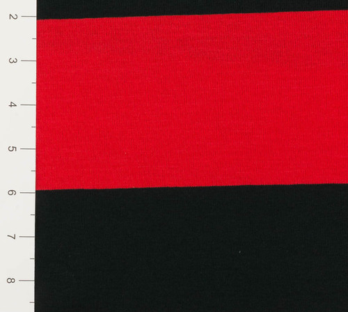 Red and Black Yarn Dyed Striped Knit Fabric