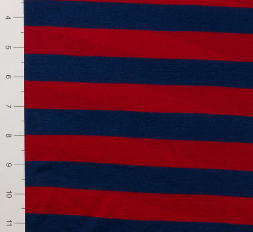 "1"" Red and Blue Striped Light Weight Knit Fabric"