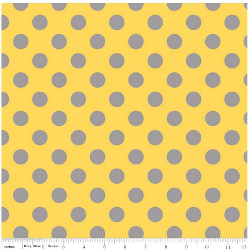 Medium Dot Yellow/Grey Flannel by Riley Blake