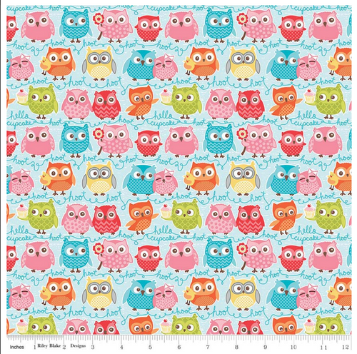 Tree Party Owls Blue Flannel by Riley Blake