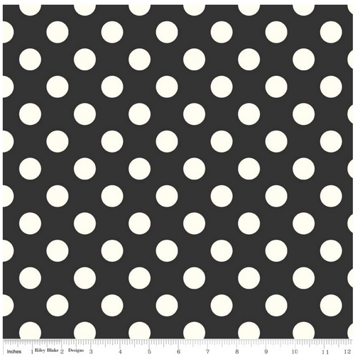 Medium Off White Dot on Black Canvas by Riley Blake