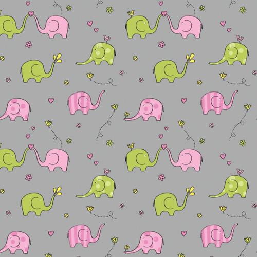 Sweet Elephant Jersey Knit by Springs Creative