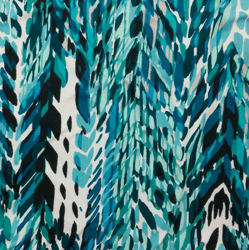 Double Brushed Poly Aqua Blues Abstract