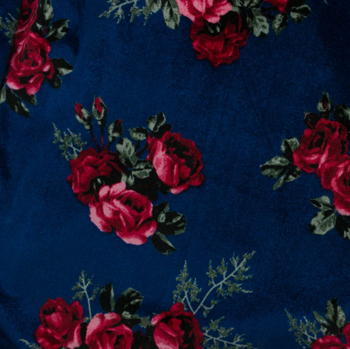 Red Roses on Blue Stretch Velvet