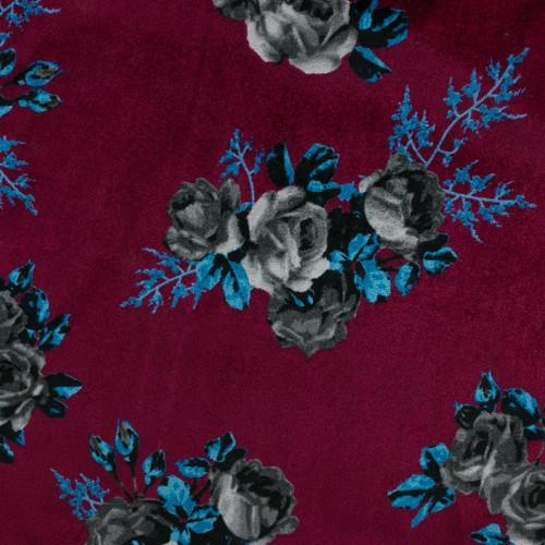 Black Roses on Maroon Stretch Velvet