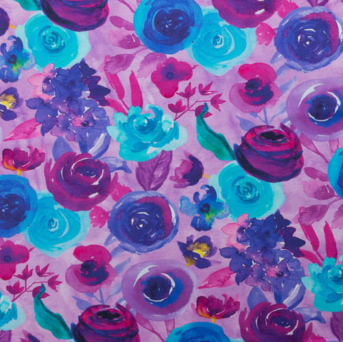 Purple Roses Floral Cotton Spandex Knit by Made Whimsy