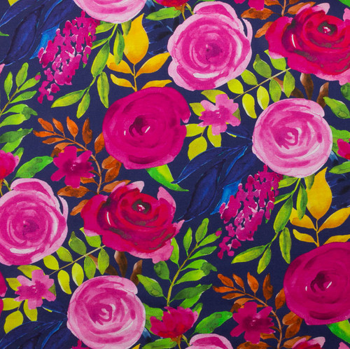 Rosey Passion Floral Cotton Spandex Knit by Made Whimsy