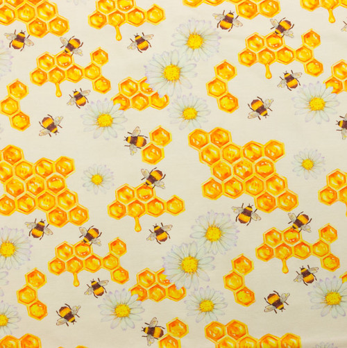 Honey Bees and Daisies Cotton Spandex Knit by Made Whimsy
