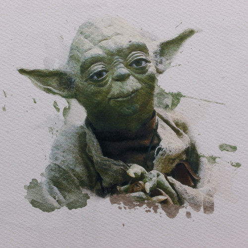 Jedi Master Watercolor Panel by ClarkMade