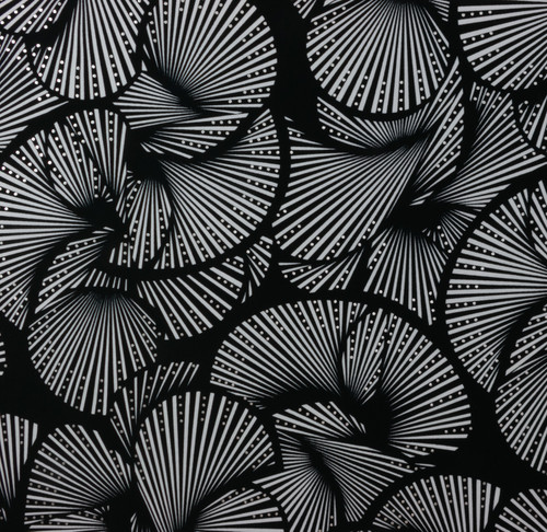 Abstract Stripes Black Silver Nylon Spandex Swim Knit