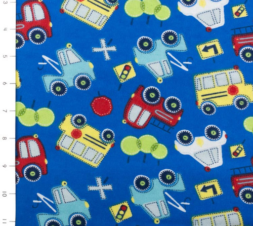 Bumper to Bumper Cars & Trucks Flannel Blue