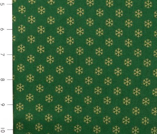 Metallic Christmas Green with Gold Snowflakes