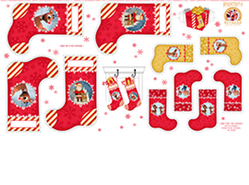 Rudolph Stockings Panel by Quilting Treasures