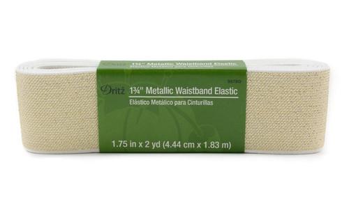 """Dritz 1.75"""" Knit Elastic Metallic White & Gold"""